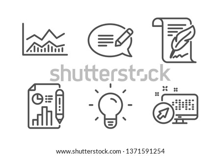 Report document, Trade infochart and Feather icons simple set. Message, Light bulb and Web system signs. Growth chart, Business analysis. Science set. Line report document icon. Editable stroke