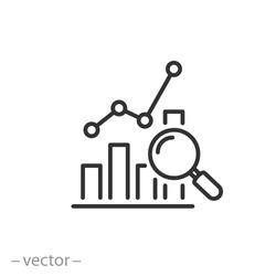 report icon, analytics data, research market thin line symbol for web and mobile phone on white background - editable stroke vector illustration