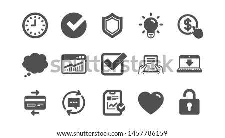 Report, Time and Credit card icons. Statistics, Light bulb and Shield protection. Classic icon set. Quality set. Vector