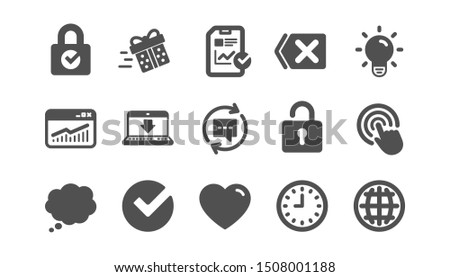 Report, Time and Globe icons. Statistics, Light bulb and Gift surprise box. Classic icon set. Quality set. Vector