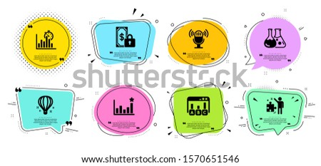 Report timer, Air balloon and Strategy line icons set. Chat bubbles with quotes. Efficacy, Private payment and Microphone signs. Chemistry lab, Survey results symbols. Vector