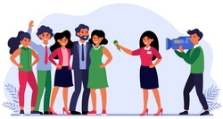 Reporter interviewing celebrities or successful people. Team, journalist, cameraman flat vector illustration. TV show, reportage concept for banner, website design or landing web page