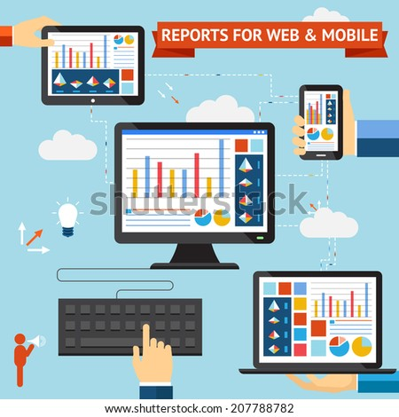 Reports for web and mobile vector set with colorful displays of graphs  charts and statistics displayed on the screens of a desktop  laptop  mobile phone and tablet computer synced through the cloud