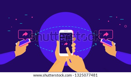 Repost and share concept flat vector illustration of human hands hold smart phones and push repost button on the screen sharing to friends. Social media symbols and speech bubbles with copy space