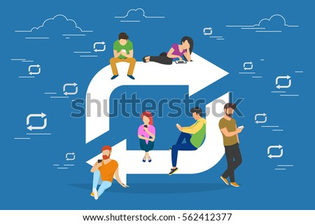 Repost symbol concept illustration of young people using devices laptop and smartphone. Flat people addicted to posting images and news sitting near repost symbol. Social media banner for networks