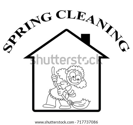 Woman Sweeping House Vector