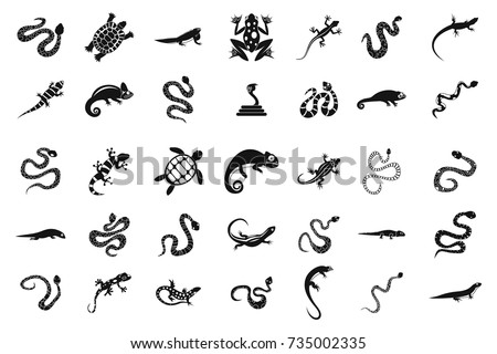 Shutterstock Reptile icon set. Simple set of reptile vector icons for web design isolated on white background