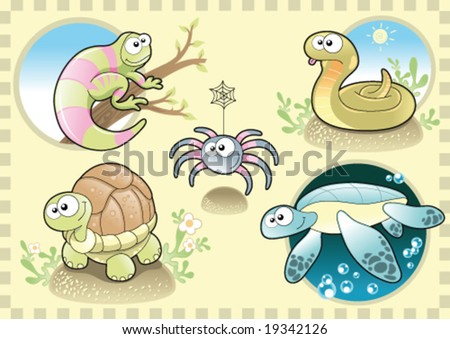 Reptiles and Spider Family, with Background