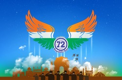Republic day of India background with tricolor wing, army saluting, celebration on India get, flag, Fighter Jet, Indian monuments skyline, kite flying editable creative vector illustration