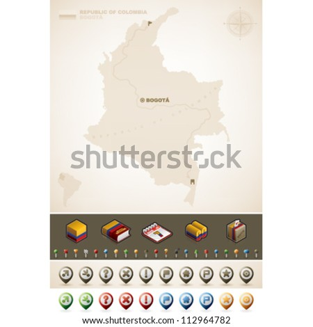 Republic of Colombia and North America Maps, plus extra set of isometric icons & cartography symbols set (part of the World Maps Set)