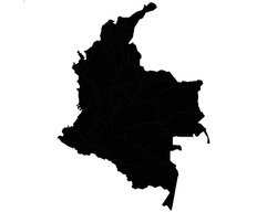 Republic of Colombia vector map isolated on white background. High detailed silhouette illustration