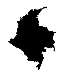 Republic of Colombia vector map silhouette isolated on white background. High detailed silhouette illustration. State in South America. Colombia map.