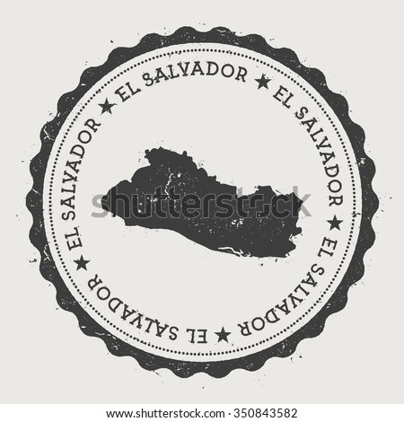 Republic of El Salvador. Hipster round rubber stamp with El Salvador map. Vintage passport stamp with circular text and stars, vector illustration