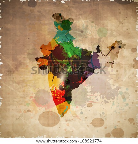 Republic of India map on grungy brown background. EPS 10.