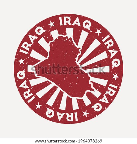 Republic of Iraq stamp. Travel red rubber stamp with the map of country, vector illustration. Can be used as insignia, logotype, label, sticker or badge of the Republic of Iraq.