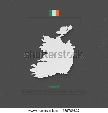 Republic of Ireland isolated map and official flag icons. vector Irish political map 3d illustration over paper texture. EU geographic banner template. travel and business concept map