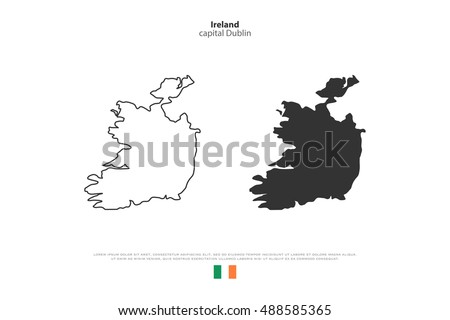 Republic of Ireland isolated map and official flag icons. vector Irish political map icons over white background. EU geographic banner template