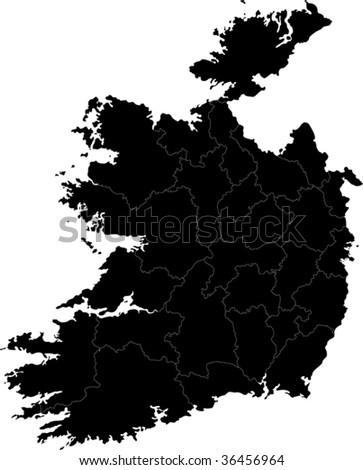 Republic of Ireland map with region borders