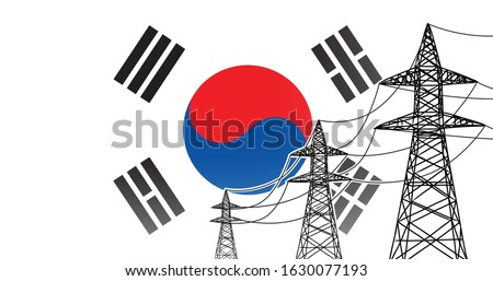 Republic of Korea (South Korea) electric power supply lines vector concept - three high voltage poles with wires on flag background, used colors blue, red, white