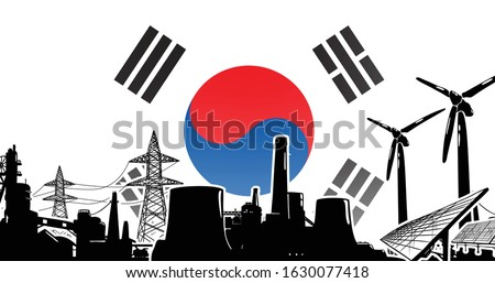 Republic of Korea (South Korea) energy production - vector with sun power, wind generators, atomic and coal power plants and electric lines on poles