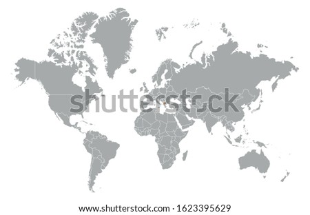 Republic of North Macedonia on detailed world map. With overlay Republic of North Macedonia flag. The location of the country of Republic of North Macedonia on the world map.