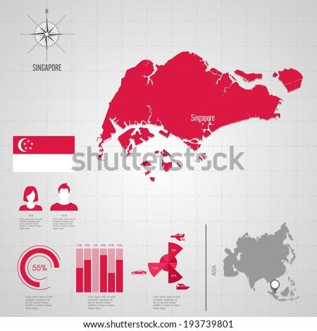 Republic of SINGAPORE. flag. Asia. World Map. Travel vector Illustration