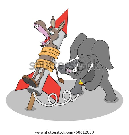 Republican elephant about to launch Democrat donkey tied to rocket