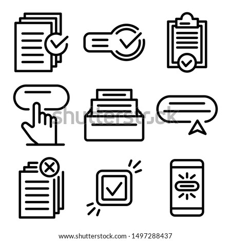 Request icons set. Outline set of request vector icons for web design isolated on white background Сток-фото ©