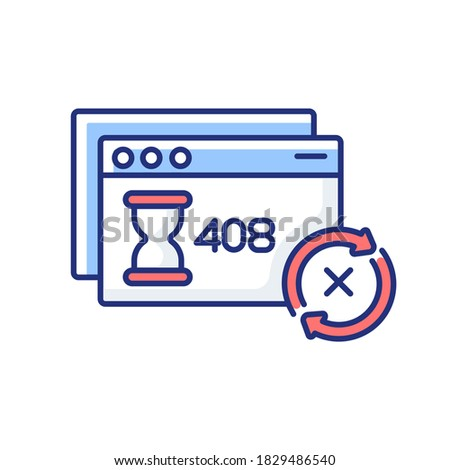 Request timeout RGB color icon. HTTP status code, server connection problem. Client error warning message. Internet page notification. Isolated vector illustration Stock photo ©