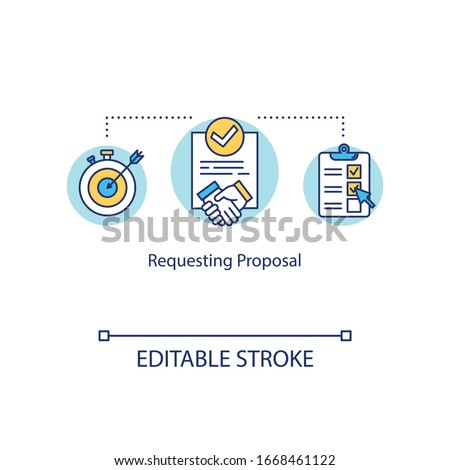 Requesting proposal concept icon. Asking potential suppliers offer idea thin line illustration. Business contracts and deals documentation. Vector isolated outline RGB color drawing. Editable stroke Сток-фото ©