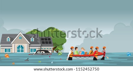 Rescue boat team helping people by pushing a boat through a flooded road,  vector illustration.