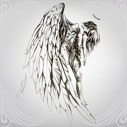 Rescue by an angel. Vector illustration
