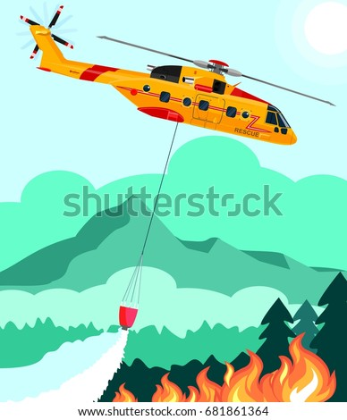 Rescue helicopter extinguishes the fire forest with water bucket vector illustration