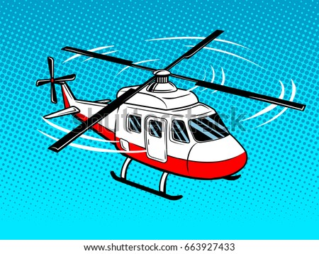 rescue helicopter pop art style