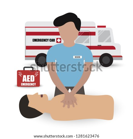 Rescue Paramedic First Aids Emergency Training with CPR Dummy Automated External Defibrillator (AED) and Ambulance Car Infographic Vector