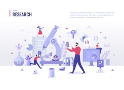 Research & analysis concept. People search for information, analyze business processes. Scientific approach in problem solving. Flat design illustration for web banners and printed materials