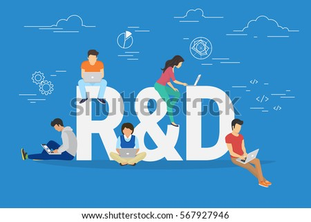 Research and development concept illustration of business people working together as team. Flat design manager, designer, programmer and other colleagues sittting on big letters R and D using laptops