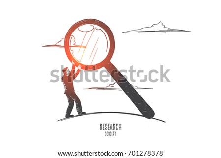 Research concept. Hand drawn man holding magnifying glass. Male person researching isolated vector illustration.