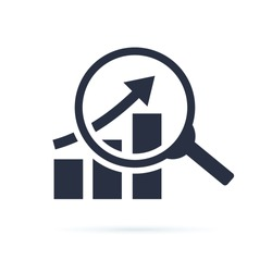 research icon, analyze business linear sign isolated on white background vector illustration eps10. Financial business growth of profit sign. Analyse budget diagram solid icon. Inforgaphic symbol