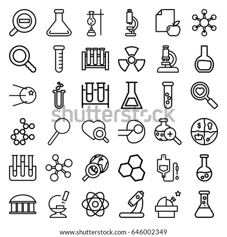 Research icons set. set of 36 research outline icons such as observatory, paper and apple, test tube, drop counter, heart search, microscope, heart test tube, magnifier