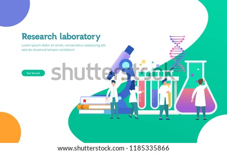 Research laboratory vector illustration concept, scientis working at laboratorium , vector template background isolated, can be use for presentation, web, banner ui ux, landing page