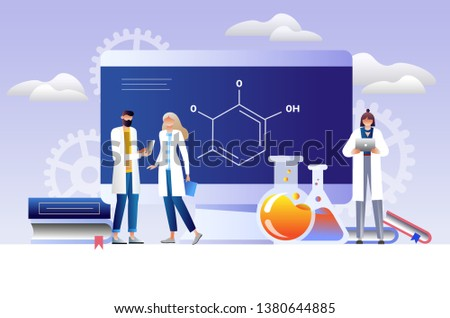 Research laboratory vector illustration concept, scientists working at laboratory , vector template isolated, can be use for presentation, web, banner ui ux, landing page. Character design