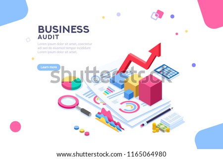 Research of engineering financial audit. Business examiner of documents. Isometric report, consultant account administration at consult meeting for accounting. Flat Isometric illustration vector.
