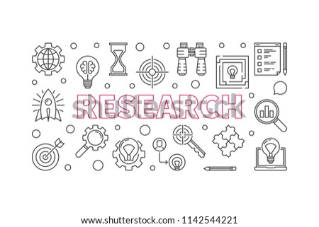 Research outline vector minimal horizontal illustration