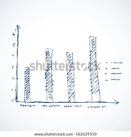Research sales tab histogram draft isolated on white backdrop. Freehand line ink pen handdrawn icon sketchy in scrawl style felt-tip on office whiteboard. Close-up view with space for text