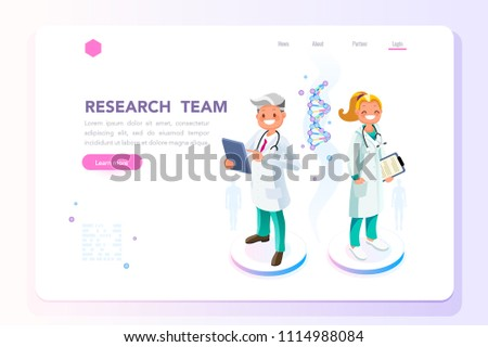 Research, science and technology concept. Scientists characters standing together. Can use for web banner, infographics, hero images. Flat isometric people vector illustration.