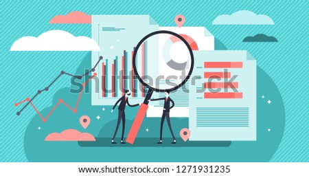 Research vector illustration. Flat mini persons concept with diagram analyze process. Coworkers study business information graphic and educational data to make new solution project or knowledge report