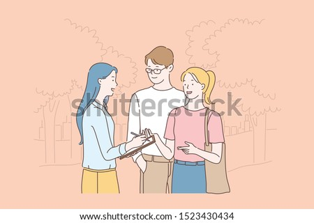 Researcher doing sociological survey, poll cartoon concept. Woman studying public opinion, communicating with young couple in park, writing citizens answers in questionnaire. Simple flat vector