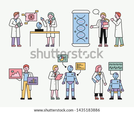 Researchers at a research institute developing robot technology. flat design style minimal vector illustration.