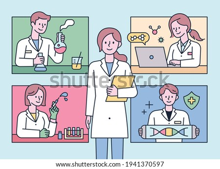 Researchers doing various experiments in the lab. flat design style minimal vector illustration.